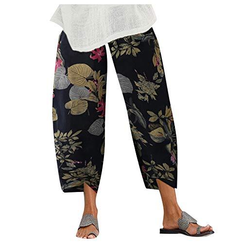 Womens Harem Pants Trousers Wide Leg Pants Elastic Waist Floral Tie Dye Sweatpants for Women with Pockets