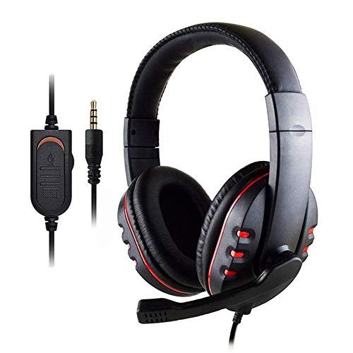 Auriculares para juegos, Auriculares para colocar sobre la oreja con bajos profesionales con cable para juegos con micrófono, Cancelación de ruido y volumen, Auriculares estéreo para juegos para PS4,