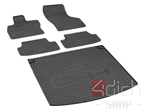 Passgenaue Kofferraumwanne und Gummifußmatten geeignet für SEAT Leon ST ab 2014 + Autoschoner MONTEUR