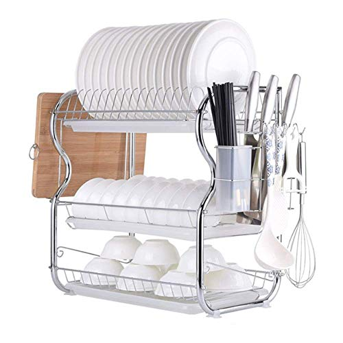 BEVANNJJ ZYY Drain Rack Dish Drying Rack, 3 Tier Dish Rack Stainless Steel Dish Drainer Holder For Kitchen Countertop One Size Dish Drainer (Color : Picture Color, Size : Picture Size)