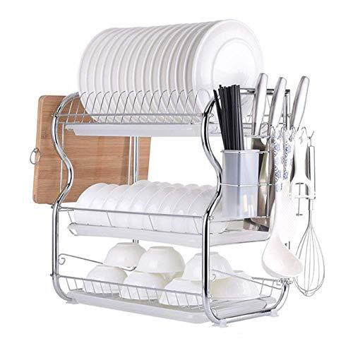 Drain Rack RVS afdruiprek Holder Countertop van de Keuken Dish Droogrek, 3 Tier afdruiprek geschikt for Home and Kitchen bowl rack (Color : Picture Color, Size : Picture Size)