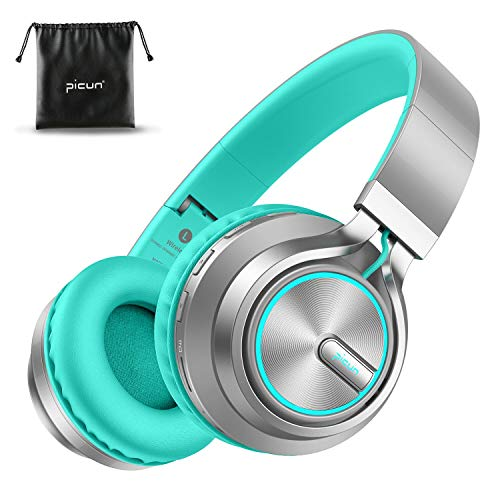 Picun Wireless Headphones 25 Hrs w/Colorful LED Light, HiFi Stereo V5.0 Bluetooth Headphones Over Ear w/HD Mic/Bag, Foldable, Wired/TF Card Mode for Gift Cellphone Online Class Home Girls Kids Adult