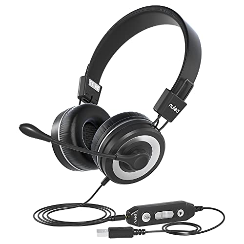 PC Headset mit Mikrofon, USB/3.5mm Jack Headset mit Lautstärkeregler, Computer Headset Noise Cancelling für Skype Webinar Homeoffice Classroom Call Center, Business Headset für PC, Ultra Komfort