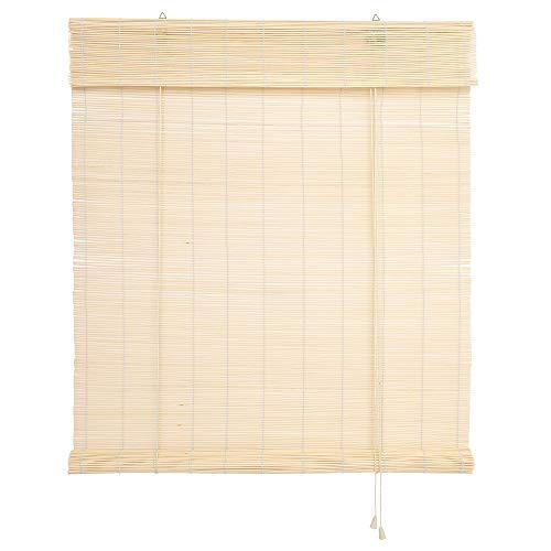 WR-Design Bambusrollo Bambus Raffrollo Natur Breite 60-140 cm Länge 160 und 240 cm Seitenzug Fenster Tür Rollos Holzrollo (140 x 160 cm)