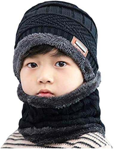 2 PCS Kids Boys Girls Winter Hat and Scarf Set, Warm Snow Knit Beanie Slouchy Skull Cap and Circle Scarf (Black)