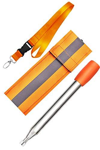 Kasego Einziehbar mit blasendem Mund, 80 cm Gesamtlänge, Feuerrohr, reflektierender Gürtel, Schlüsselband Aufbewahrungstasche, Feuerrohr, Orange