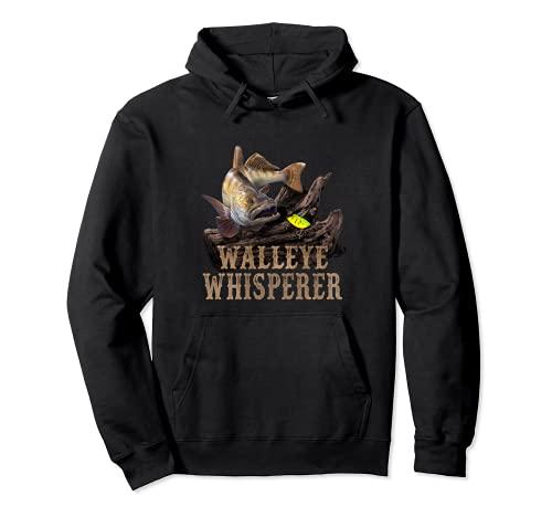 Walleye grande con el dibujo del señuelo de la pesca: Walleye Whisperer Sudadera con Capucha