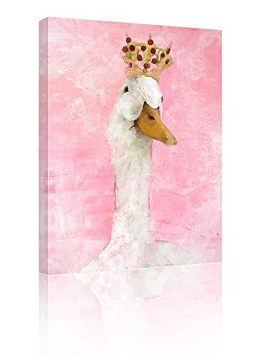 Sumgar Kunstdruck auf Leinwand, niedlich, mit weißem Schwan und Krone, 30 x 40 cm