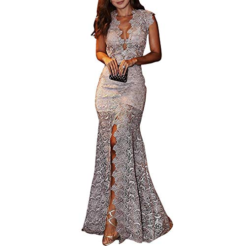 Vestido feminino AKDSteel de comprimento longo sexy decote V profundo sem mangas para casamento e festa, Cinza, Small