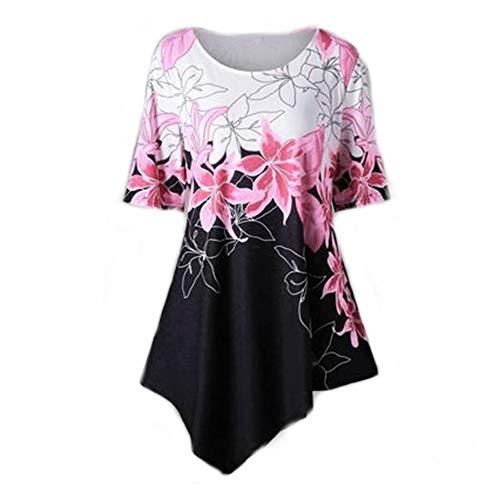 Camicetta Donna Bluse Donna Elegante Girocollo Manica Corta Slim Floreale Tops Nuova Estate Moda all-Match Camicia Donna B-Pink 5XL