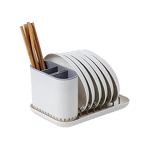 Secado de vajillas Rack Auto-Drenaje Utensilio Decoración de Mesa de Moda Desmontable Gratis - Blanco