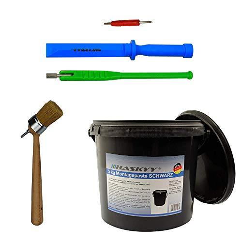 Reifen- Montagepaste 3kg I Montagewax SCHWARZ + Ventildreher + Ventileinzieher + Ventilhelbel im SET