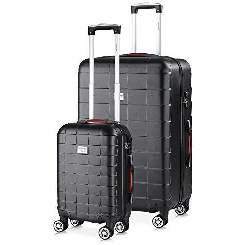 monzana® 2er Set Koffer Boardcase M, XL Gelgriffe TSA Schloss Reisekoffer Trolley Kofferset Handgepäck schwarz