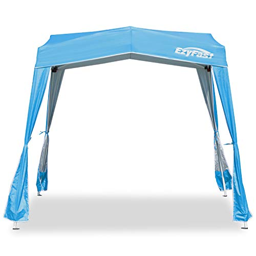 EzyFast Resort Style Pop Up Outdoor Canopy, Portable Instant Shelter, Sports Cabana, Beach Shade Tent with 10' x 10' Base / 8' x 8' Top