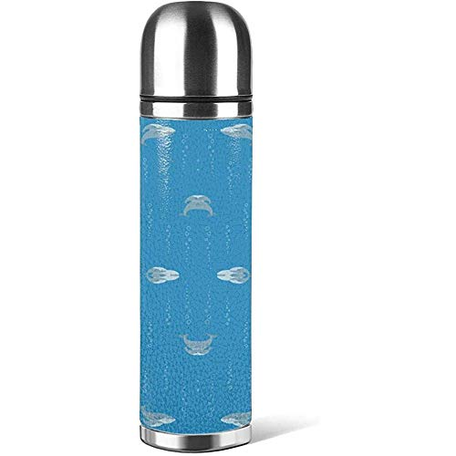 Like-like Blue Whale Mum and Baby with Bubbles Coffee Cups with Cids Water Bottle Mug 3D Printed Leather Ant-Slip, Thermoses Cup