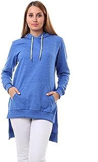Andora Cotton Kangaroo-Pocket Ribbed-Trim Side-Slit High-Low Hoodie for Women