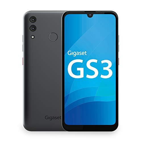 Gigaset GS3 Smartphone ohne Vertrag - Triple-Slots für Dual SIM und Speichererweiterung - leistungsstarker 4000mAh Wechsel-Akku - 4GB RAM und 64GB interner Speicher - Android 10 - Graphite Grey