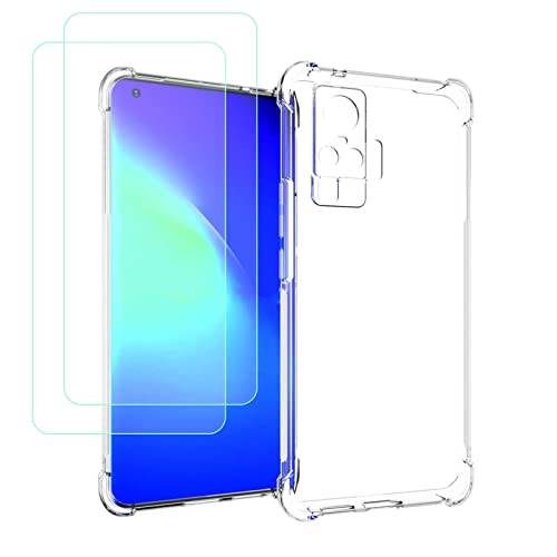 TLING Hülle für Vivo X51 5G + 2X Panzerglas, TPU Silikon Stoßfest Backcover Hüllen Air Cushion Bumper Schutzhülle für Vivo X51 5G, Transparent