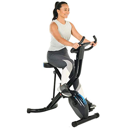 Exerpeutic 575 XLS Bluetooth Smart Technology Folding Upright Exercise Bike, 400LBS