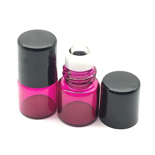 20 pcs Rechargeable Mini Rouleau sur 1 ML Bouteilles en Verre pour Huiles Essentielles Rouleau Parfum Rose Rouge Rouleau Bouteille