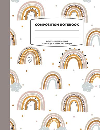 Composition Notebook: Brown Rainbow Composition Notebook - Large 8.5 x 11 - College Ruled 110 Pages