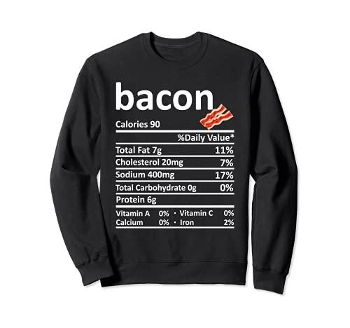 Bacon Nutricin Informacin Alimentaria Disfraz de Accin de Gracias Navidad Sudadera