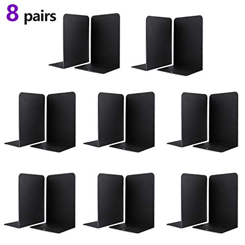 Jekkis Book Ends 16pcs Metal Bookends for Shelves, Metal Heavy Duty Bookends for Shelves, Book Shelf Holder Bookend Supports Book Stoppers(8 Pairs) Photo #1
