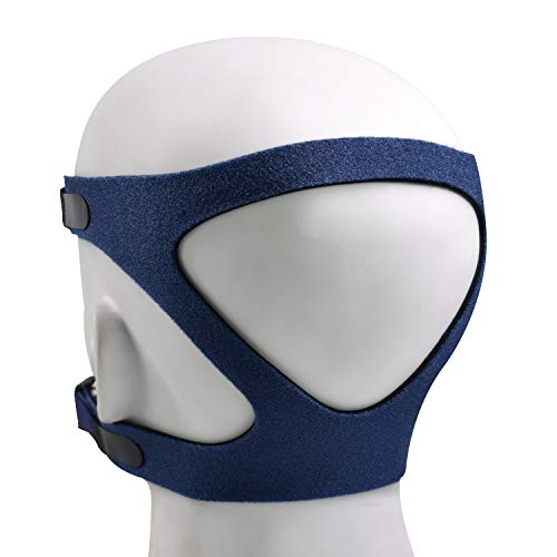 Universal Headgear for Various Masks, Adjustable Mask Strap with Stronger Vel-cro and Elasticity, Standard Headgear Strap for Comfortable Fit & Seal, Blue (Headgear Only, Exclude Clip)