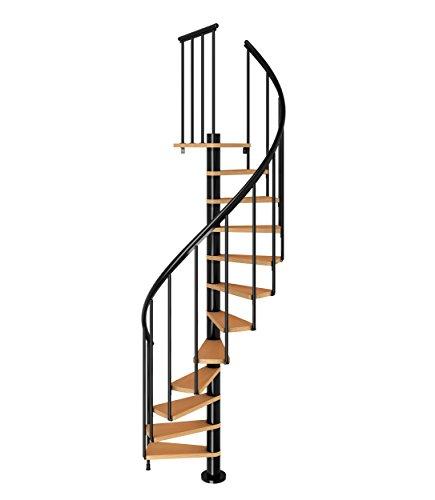 Spindeltreppe Wendeltreppe Calgary, Geschosshöhe: 244,8-280,8 cm, Stufen: Buche, Unterkonstruktion: anthrazit, Durchmesser: 140 cm