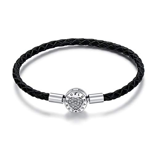 Genuine Black Leather Charm Bracelet 925 Sterling Silver Single Braided Chain Bangle Barrel Clasp Jewelry Fit Pandora Charms Birthday Gift for Women Mom (8.3')
