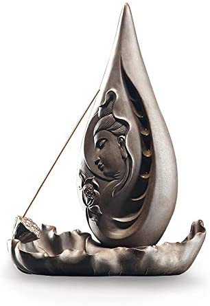 JSRTH Statues Sculptures Sale New color item Ceramic Backflow Guanyin Incense Lotus