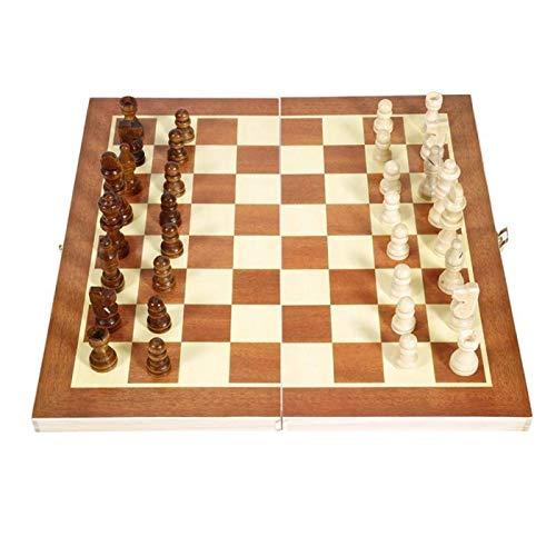 BDYALINGVN 34 * 34 cm Plegable de Madera Chess International Chess Checkers Juego de Mesa Plegable Juego Divertido Juego Chessmen Colección portátil Juego de Mesa de ajedrez Conjunto