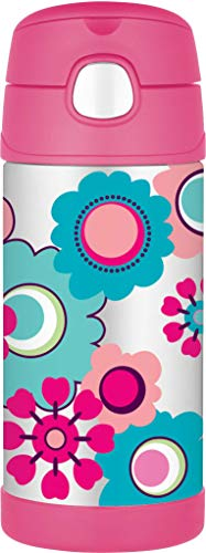 Funtainer Thermoskanne, Edelstahl, Strohhalmflasche, 355ml, Edelstahl, Blumenmuster, 355 ml