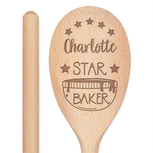 Personalised Custom Engraved Wooden Spoon Star Baker Any Name Text