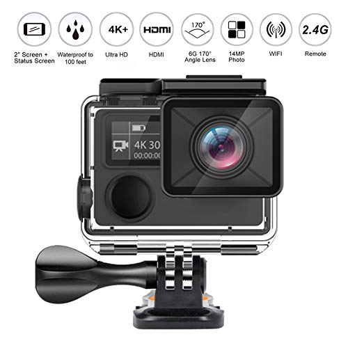 Wi-Fi 4K14MP Azione Fotocamera Ultra Videocamera HD 100 Feet Macchina Fotografica Impermeabile Di Sport Con 170 Gradi Obiettivo Grandangolare E 2.4G Remoto, Batteria Ricaricabile E Kit,Nero,Option1