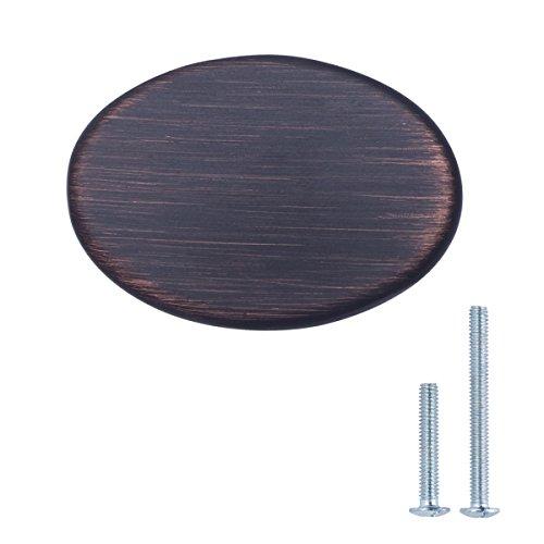 AmazonBasics - Schubladenknopf, Möbelgriff, flach, rund, Durchmesser: 3,66 cm, Geöltes Bronze, 10er-Pack