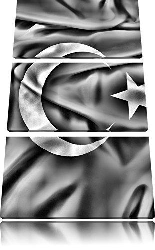 Pixxprint Turkey Flag, Türkei Flagge als Leinwandbild/Größe: 3 Teilig (120x80 cm) cm/Wandbild/Kunstdruck/fertig bespannt