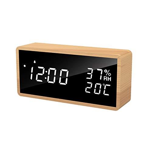 Despertador LED Despertador Digital, Reloj de Mesa con Control por Voz, Fecha, Temperatura y Humedad, para el Hogar, Dormitorio, Guardería y Oficina