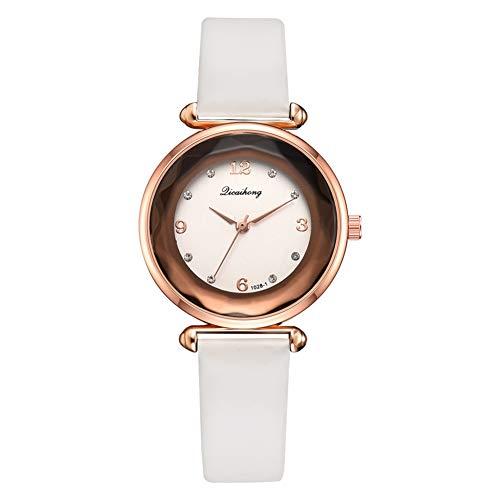 TYYW Reloj De Cuarzo con Banda De Cuero PU, Marco De Oro Rosa con Reloj De Pulsera Femenino De Diamantes De Imitación (Blanco)