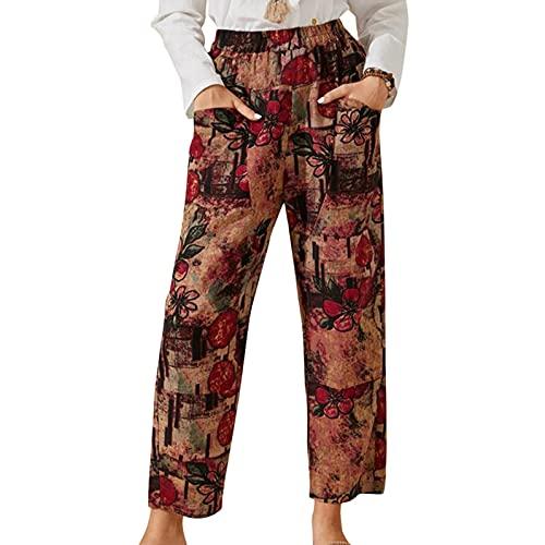 BIBOKAOKE Pantalones cargo para mujer, cintura alta, sueltos, para el tiempo libre, con bolsillo, para mujer, monocolor, elásticos, cintura elástica, estilo cargo, Marrón 35, S