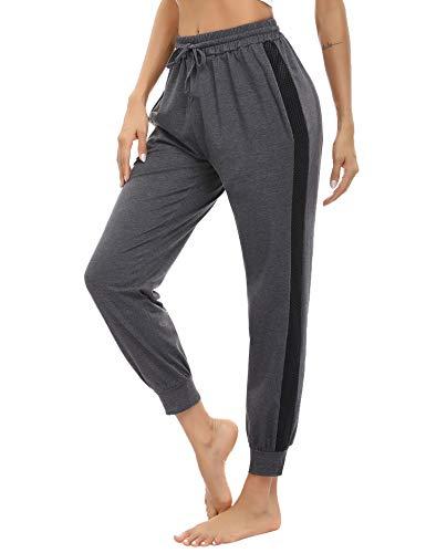 Aibrou Pantalones Deportivos Mujer, Pantalones Chándal Mujer Algodón Largos Sueltos Casuales Pantalón de Chándal con Bolsillos para Yoga Fitness Jogger Casual