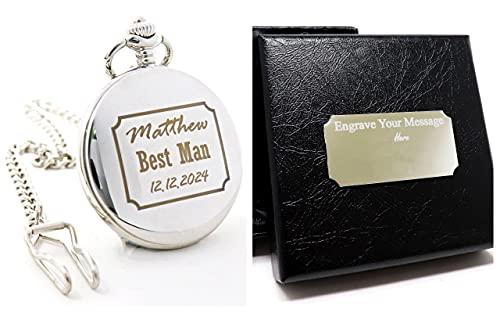 Reloj de bolsillo de plata personalizado en caja de regalo de seda,...