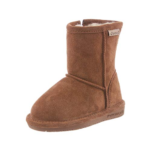 BEARPAW Baby Emma Zipper Mid Calf Boot, Hickory, 12 M US Little Kid