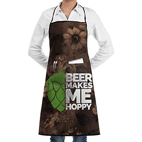alice-shop La Cerveza me Hace un Delantal de Babero lupulado con Lazos Largos, Delantal de Cocina Unisex para cocinar