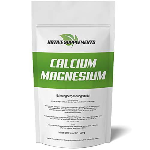 600 Tabletten Calcium & Magnesium, 1200mg Komplex pro Tagesdosis, Extra Rein, Hochdosiert und für Veganer geeignet, Kalzium Pharmaqualität