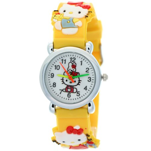 TimerMall Lovely Cartoon Hello Kitty Rubber Digital Yellow Watches