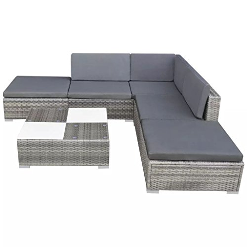 vidaXL Gartensofa 15-TLG. Poly Rattan Grau Sitzgruppe Lounge Gartenmöbel Set - 2