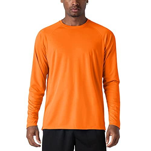 KEFITEVD Running Longsleeve Herren Outdoor Laufshirt Leicht Atmungsaktiv Fahrradshirt Mountainbike Shirt Langärmlig Golf UV Schutzkleidung Orange XL