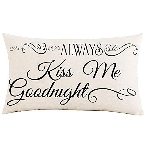 Funda de almohada de 30,5 x 50,8 cm Always Kiss Me Goodnight Line Decoración de lino de algodón sintético decorativo para el hogar, sofá, silla de coche, funda de cojín
