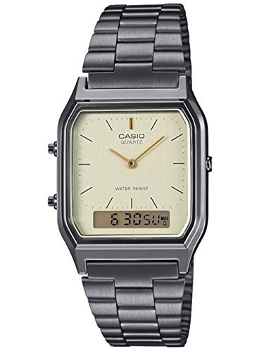Casio Unisex Erwachsene Analog – Digital Quarz Uhr mit Edelstahl Armband AQ-230EGG-9AEF
